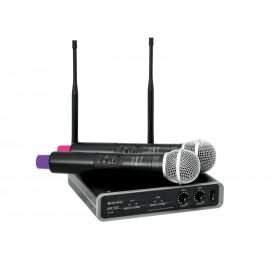 Omnitronic UHF-102, bezdrátový mikrofonní set 2 kanálový, 823.5/863.1 MHz