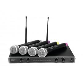 Omnitronic UHF-104, mikrofonní set 4 kanálový, 823.5/825.3/863.1/864.1 MHz