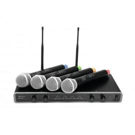 Omnitronic UHF-104, mikrofonní set 4 kanálový, 828.1/830.3/864.8/863.8 MHz