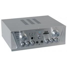 Karaoke zesilovač FM / USB / SD, stříbrný
